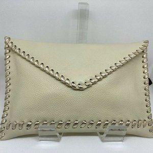 LAGGO | Leather Snap Closure Envelope Clutch Cream